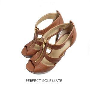 Michael Kors Open Toe Brown Zip Sandals Sz 7M